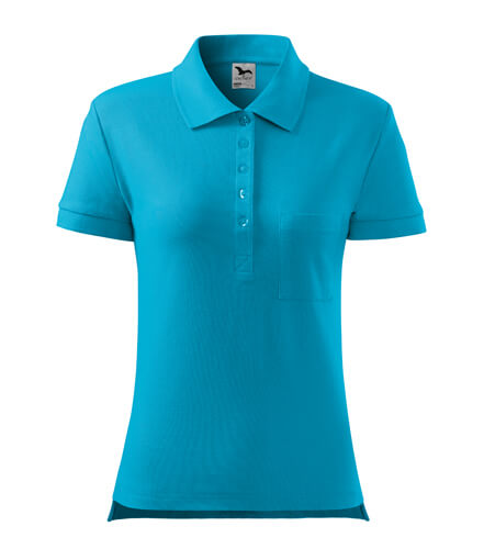 tricou polo dama cotton turcoaz